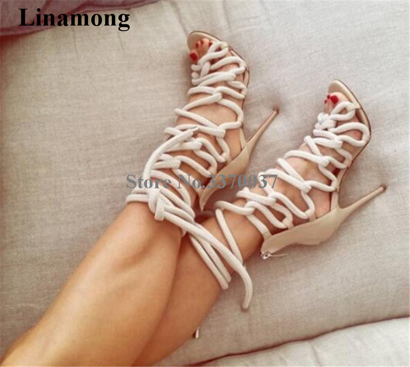Ladies New Fashion Rope Design Strap Cross Gladiator Sandals Cut out Thin Heel Braided High Heel