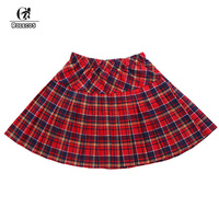 Hot Sale Red Gray Blue Black Pleated Skirt School Uniform Casual Plaid Skirts Plus Size