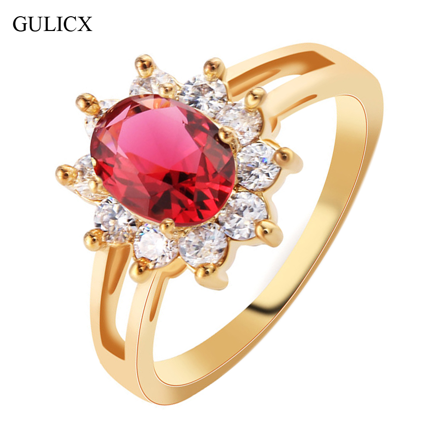 GULICX Fashion Size 8 Flower Ladies Finger Band Gold-color Ring for Women Oval Crystal CZ Zircon Engagement Jewelry R332