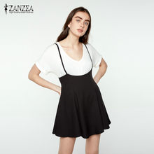 ZANZEA New 2018 Skirts Womens Fashion Black Skater Skirt With Shoulder Straps  Pleated Hem Saia Femininos Braces Skirt Jupe Femme 487c56371