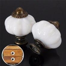 Tiradores de armario Vintage con forma de farol de un solo agujero tiradores de cajones de alacena perillas de puerta de cocina blancas manija de muebles