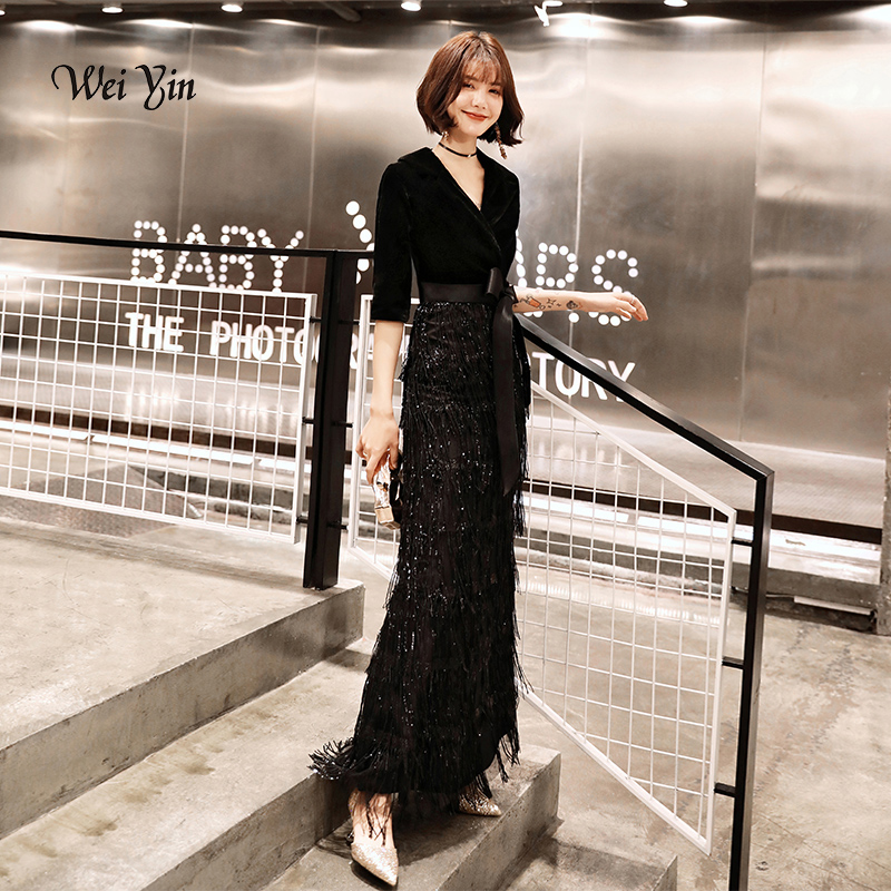 Weiyin Black Velvet Evening Dresses Long Mermaid V-neck Formal Dress Sequined Abendkleider Women Robe De Soiree Longue Wy1260 Shrink-Proof Weddings & Events