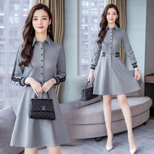 Spring and autumn new style Slim mid-length dress Temperament fashion lapel stitching knit