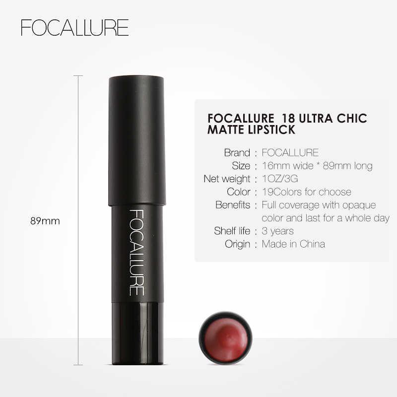 FOCALLURE mat rouge à lèvres longue durée étanche anti-adhésif tasse cosmétique paillettes rouge à lèvres stick maquillage des lèvres