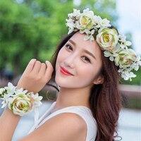 2 teile/satz blume kranz frauen braut kopfschmuck schmuck floral girlanden Brautjungfer stirnband fotografie schmuck haarschmuck