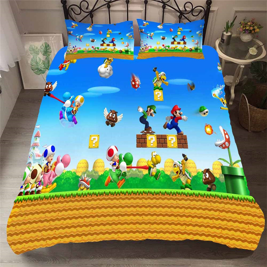 HELENGILI 3D Bedding Set Mario Print Duvet Cover Set Bedcloth With Pillowcase Bed Set Home Textiles #MLA-08