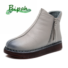 PEIPAH Women Boots Winter 100% Genuine Leather Women Ankle Boots Winter Retro Handmade Casual Flat Snow Shoes Martin Boots цены онлайн