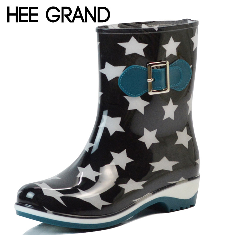 HEE GRAND Rain Boots 2017 Stars Platform Mid-Calf Women Boots Slip On Casual Shoes Woman New Flats Size 36-40 XWX4277 ensemble stars 2wink cospaly shoes anime boots custom made