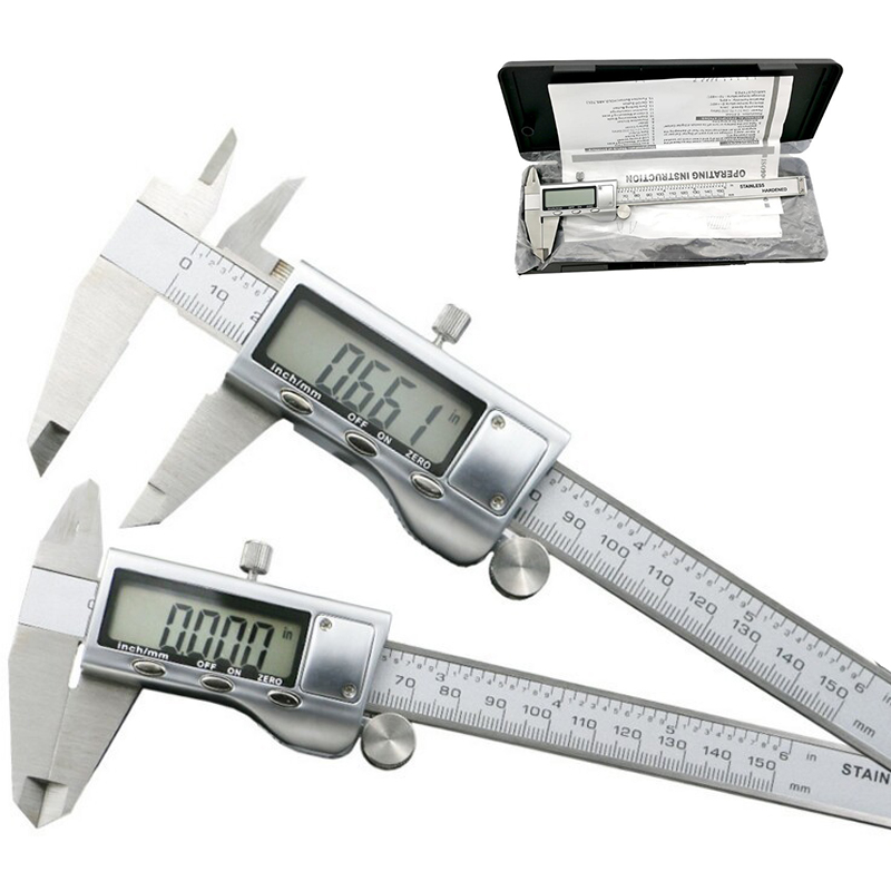 Metal caliper 6-Inch 150mm Stainless Steel Electronic Digital Vernier Caliper Micrometer Measuring tool Digital Calipers mint green casual sleeveless hooded top