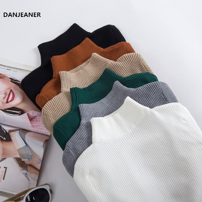 Danjeaner Autumn Winter Women Pullovers Sweater Knitted Elasticity Casual Jumper Fashion Slim Turtleneck Warm Female Sweaters
