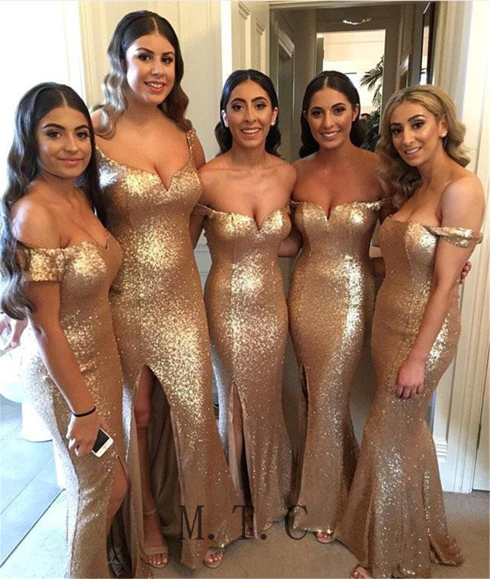 Sparkly Champagne Sequins   Bridesmaid     Dresses   Off The Shoulder Boat Neck Side Split Cheap Women Wedding Party   Dress   Custom Made