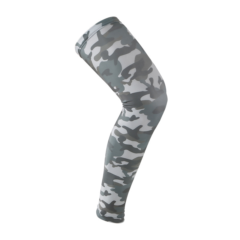 1PC Super Elastic Lycra Camouflage Basketball Long Knee Sleeves Anti-UV Support Brace Football Kneepad Thigh Compression Sports