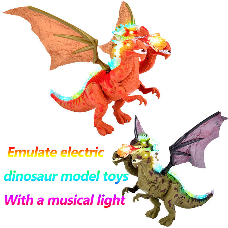 Jurassic age Dinosaurs electric dinosaur model toy fire three headed dragon model walk with light and the sound gift 6653