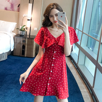 Red pointed printe V neck korean japanese chiffon dresses women summer cute streetwear 2019