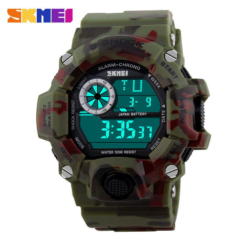 S SHOCK font b Men b font Sports Watches SKMEI Luxury Brand Camouflage Military Watches Digital
