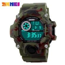 S SHOCK deportivo masculino reloj, SKMEI reloj de marca lujosa de camuflaje militar, Relogio Led digital masculino reloj de pulsera resistente al agua