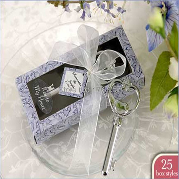 """""""Key To My Heart"""" Victorian Style Bottle Opener  Violet Box European creative  Wedding Favor Party gifts 20pcs/lot"""