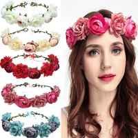 Red Rose Flower Headband Head Band Floral Head Wreath Headpiece Girls Hair Accessories Bridal Wedding Headwear