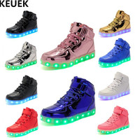 New Children Shoes LED Lighted USB Charging Light Shoes Boys Girls High top Glowing Sneakers Kids Student Casual Shoes Flat 04