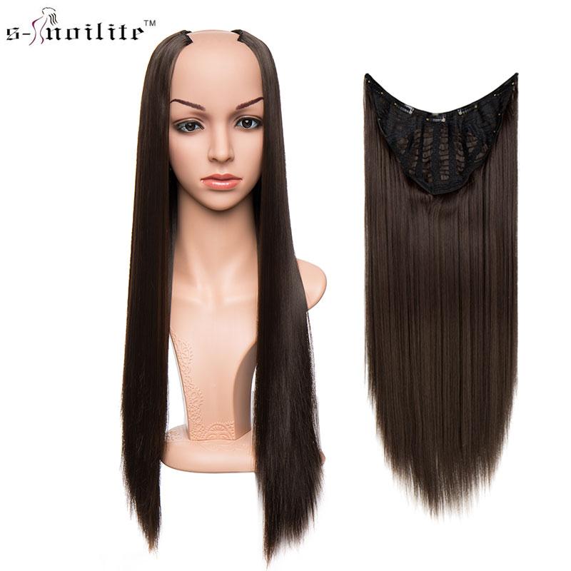 SNOILITE 26inch Long Straight Full Head U Part 7 Clip ins Hair Extensions High Temperatu ...