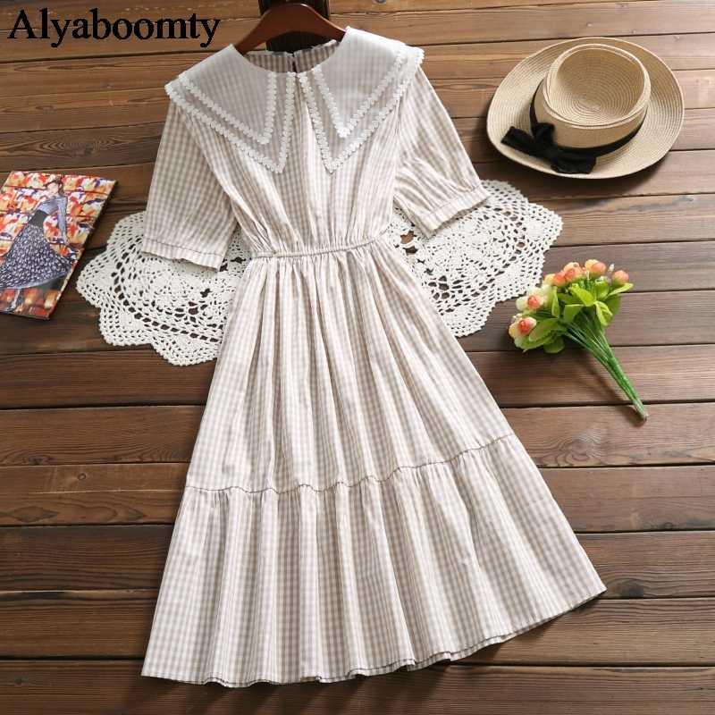 Японский Школьный стиль; Лето Женское клетчатое платье двухслойный воротник абрикосовое черное свободное платье Элегантное хлопковое милое платье с оборками