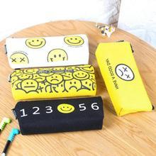 Jonvon Satone 1pcs Cute Good Mood Canvas Bag Emoji Pencil Case High Quality Cartoon Expression Pencils Bags Organizer Bag(China (Mainland))