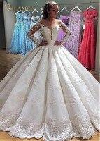 Luxury Appliques Lace Ball Gown Wedding Dress 2018 Fashion Scoop Neck Long Sleeve Bridal Dress Vestido de Noiva