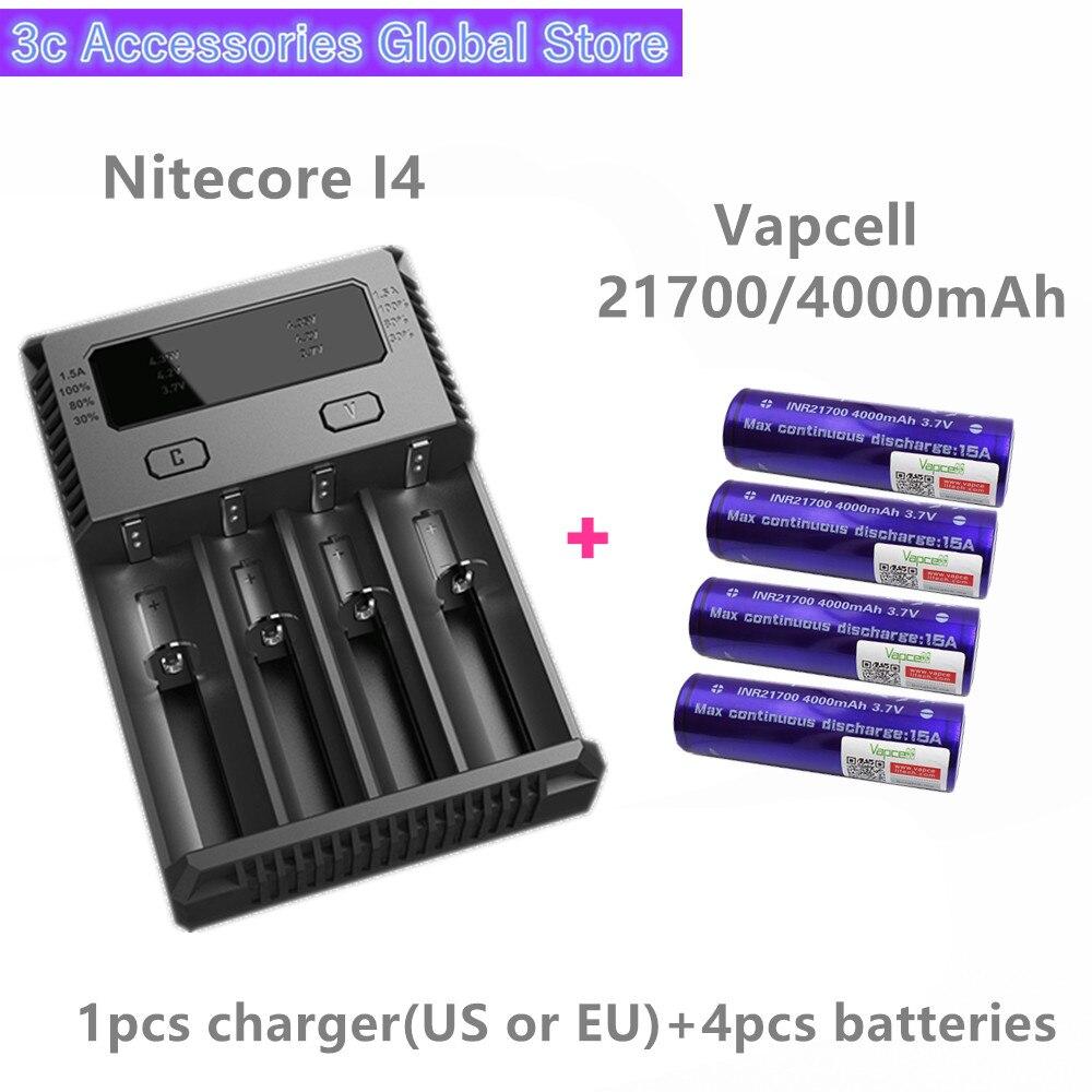 Vapcell 4 pièces INR 21700 4000 mah 15A li-ion batterie rechargeable avec Nitecore nouveau I4 Digi chargeur LCD Intelligent pour fumée E-CIG
