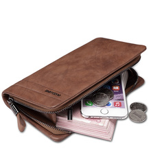 teemzone – Japen Hot Full Grain Cowhide Genuine Leather Zipper Closure Men Day Clutch Wallet Handbag Money Organizer J35
