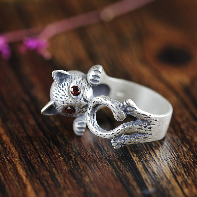 New JEWELS Fashion Silver S990 Adjustable Rings Delicate Cute Cat Design Sterling Thai Silver Ring with Zircon for WomenNew JEWELS Fashion Silver S990 Adjustable Rings Delicate Cute Cat Design Sterling Thai Silver Ring with Zircon for Women