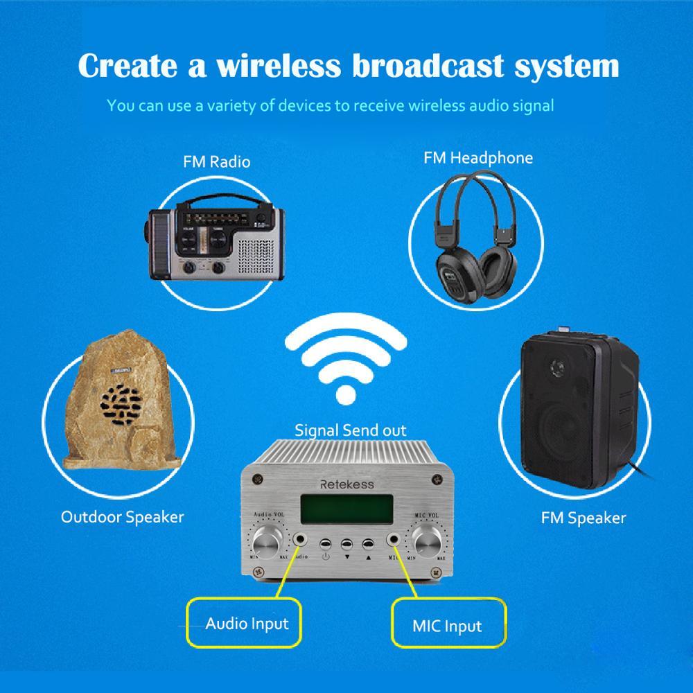Image 5 - Retekess TR502 For Drive in Church 15W FM Transmitter Wireless Broadcast Stereo Station Long Range Transmitter Drive in CinemasRadio & TV Broadcast Equipments   -