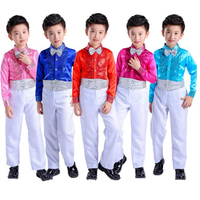 Boys Children Student Sequins Jazz Stage Dance Perform Party Birthday Costume Gentleman Tracksuit Suit Sets For Boys Clothes 45