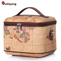 New Quality PU Leather Cosmetic Bag Fashion Map Pattern Styling Vanity Case Makeup Artist Dedicated Big capacity Storage Box