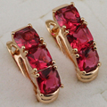 Classical Nobby Nice Red CZ Gems Hoop Earrings Yellow Gold Plated Jewelry Gift For Women EB246A