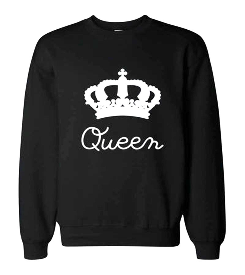 51a2e48e86a Casual Couples Sweatshirt KING Queen Crown Printing Sweatershirts ...