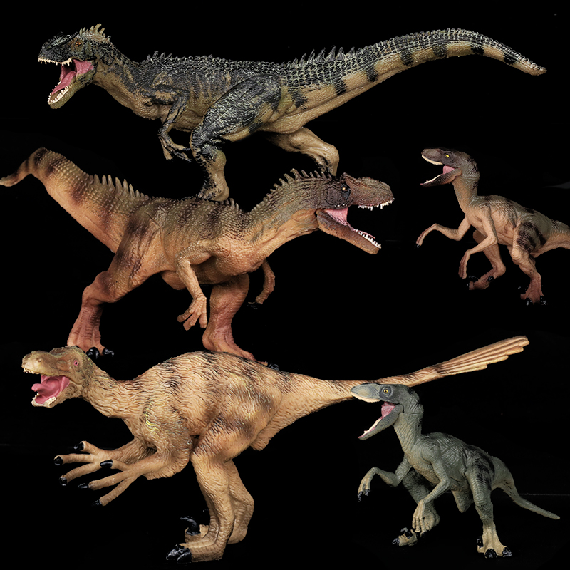 REikirc 5pcs/Set Raptor Series Allosaurus Velociraptor Tyrannosaurus Rex Action&Toy Figures Jurassic Dragon Dinosaur Toys Model 37 cm tyrannosaurus rex with platform dinosaur mouth can open and close classic toys for boys animal model without retail box