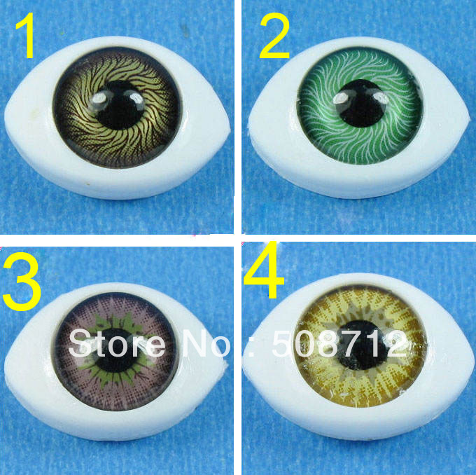 Free Shipping!!!!Oval Natural Flat Back Paperweight Doll Eyes 9mm Mixed Color Can Choose