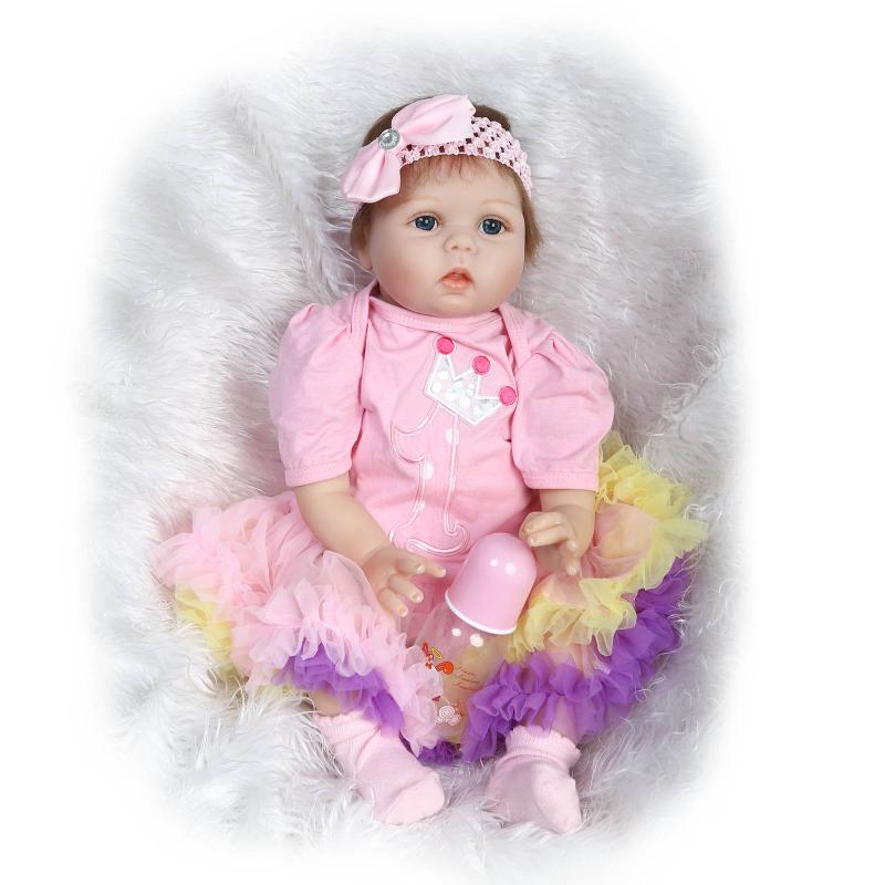 55cm NPK COLLECTION DOLL Silicone Reborn Baby Doll Toy Lifelike Simulation Newborn Girl Babies Child Princess Best Birthday Gift