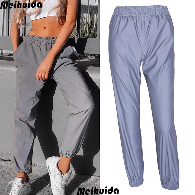 19 New Women's Reflective Pants loose High waist cargo Trousers Jogger Baggy Trousers glowing pants pantalon reflechissant 3