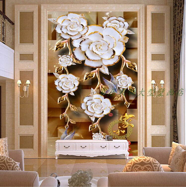 Free Shipping Special material stereo 3D vertical version  background porch corridor aisle screen wall mural wallpaper  free shipping european 3d relief murals aisle porch corridor classical style wallpaper rich tree rose vase mural