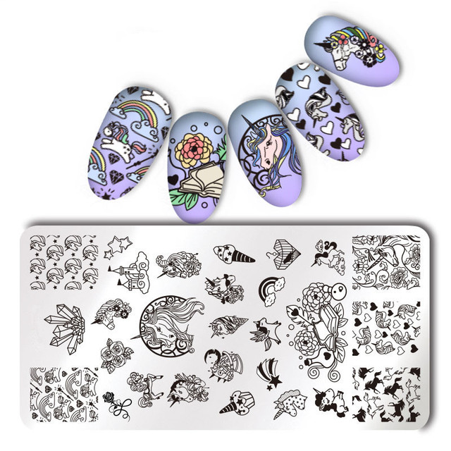 1Pc Rectangle Stamping Plate Unicorn Pattern Manicure Nail Art Plate & Nail Art Scraper Tools for Stamping Polish