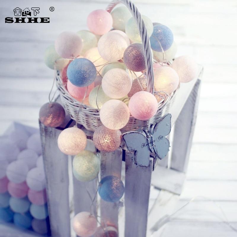20 LEDs bola de algodón cadena de luces AC y batería luces de hadas decoración al aire libre guirnalda navideña globo Cadena de iluminación