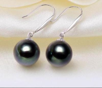charming 11-12mm tahitian black green natural pearl earring aaa 11 12mm beautiful tahitian black pearl earring white