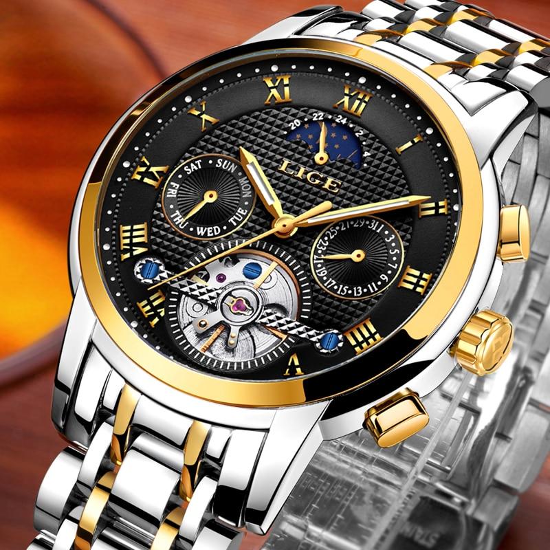 2019 Top Luxury Brand LIGE Men s Automatic Mechanical Watches Men Full Steel Business Waterproof Sport