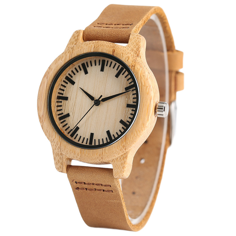 Simple Bamboo Women Watches Creative Genuine Leather Band Quartz Ladies Watch Casual Wood Clock 2018 New Handmade Christmas Gift creative rectangle dial wood watch natural handmade light bamboo fashion men women casual quartz wristwatch genuine leather gift