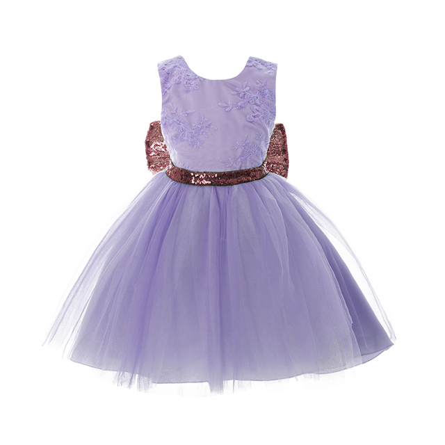 Elegant Princess Girl Dresses Gold Bow Baptism Clothing Party Gown Toddler  Kids Tutu Lace Dress For Girls Wedding Birthday Wear 42f3f228a9e9