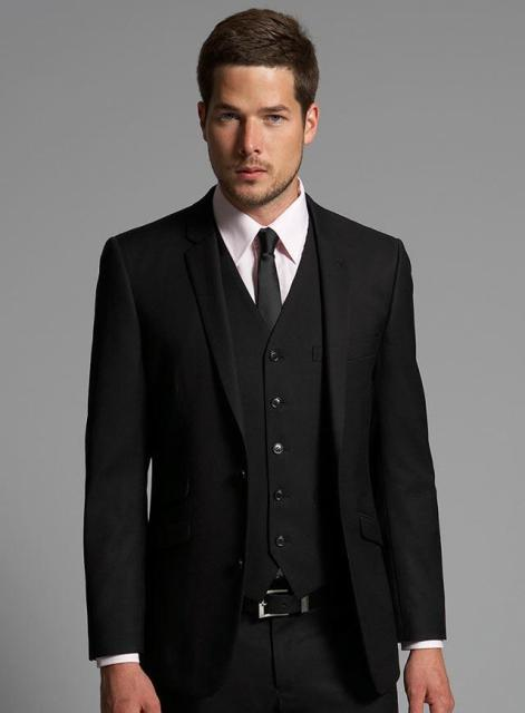Generous Black Suit Mens Wedding Suits 2018 Notched Lapel Tuxedos Two On Groom