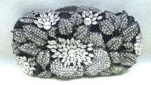 Freies verschiffen!! A15-65, schwarz farbe mode top kristallsteinen ring handtaschen für damen nette parteibeutel