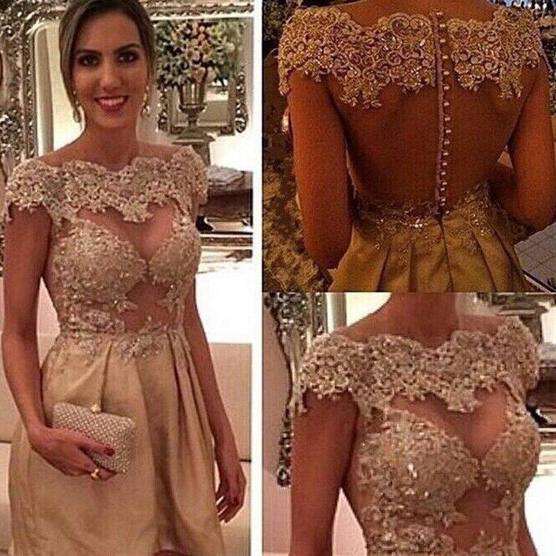 New Arrival Champagne Satin A-Line Cocktail Dresses 2019 Scoop Vestido De Festa Appliques Hollow Back Prom Dresses