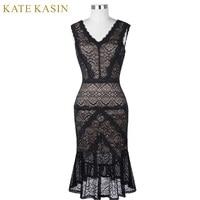 Kate Kasin Black Short Cocktail Dresses Women Lace Party Dress Knee Length Mermaid Style Robe De